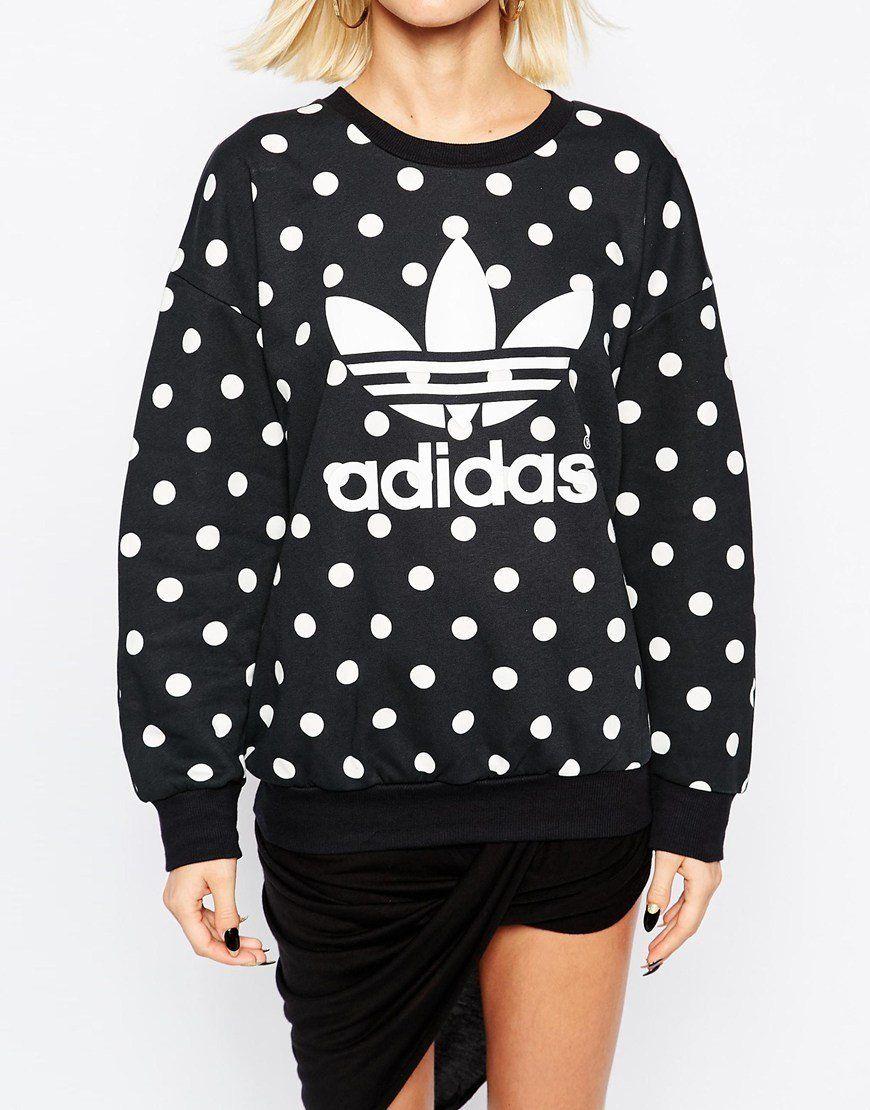 "<a href=""http://us.asos.com/adidas-Originals-Polka-Dot-Trefoil-Logo-Sweatshirt/183ehz/?iid=5708894&amp;clr=Blackcorewhite&amp"