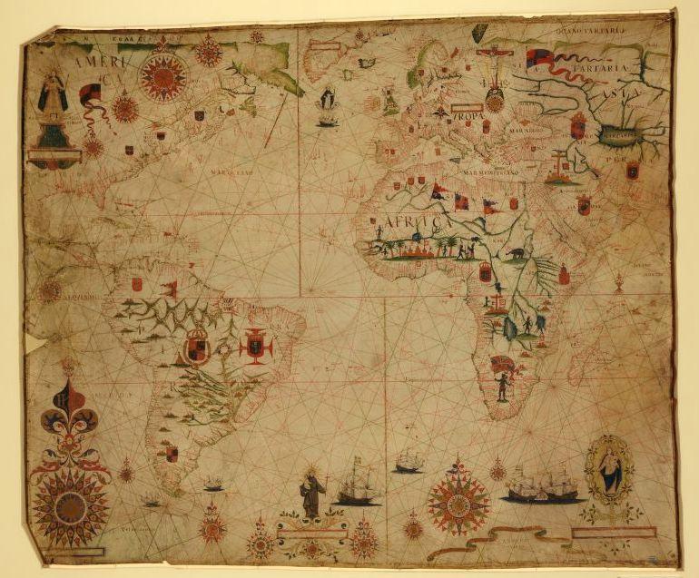 A portolan chart of the Atlantic Ocean and adjacent continents, 1633.