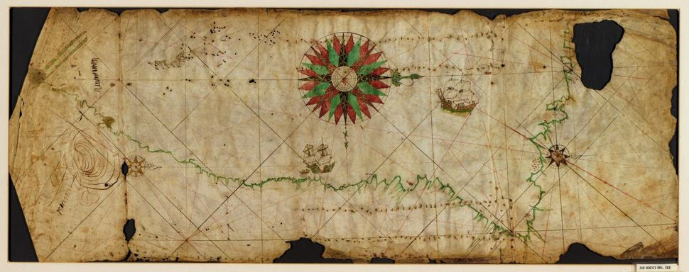 Portolan chart of the Pacific coast from Mexico to northern Chile, 1500.