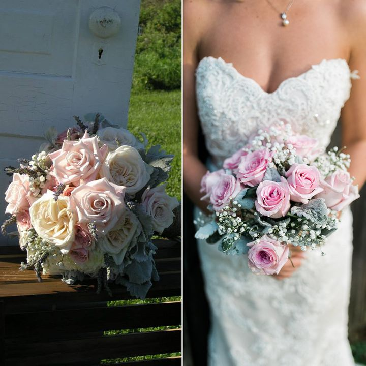 "On the left, the bouquet from the wedding. On the right, the recreated bouquet by <a href=""http://www.countrygardens.biz/"">Country Gardens</a>.&nbsp;"