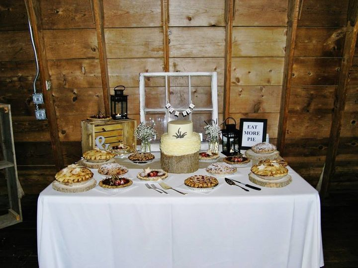 The dessert table at the couple's actual wedding.