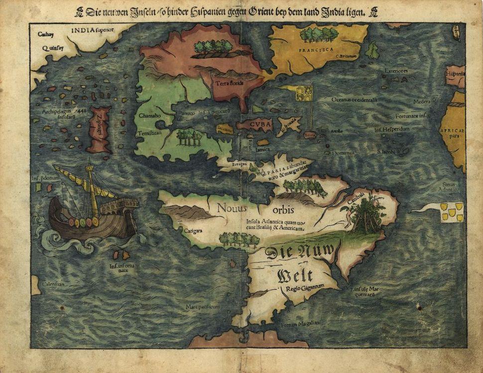 New weldt oder Inseln, so hinder Hispanien gegen Orient bey dem land India ligen, 1550.