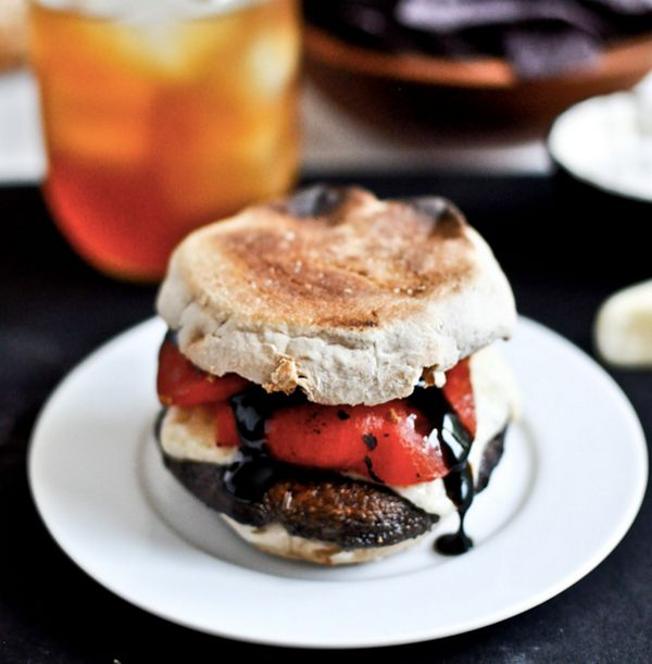 """<strong>Get the<a href=""""http://www.howsweeteats.com/2012/06/asiago-portobello-burgers-with-roasted-red-peppers-balsamic-glaze"""
