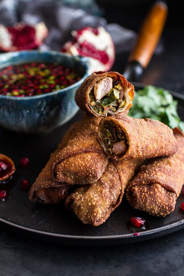 "<strong>Get the <a href=""http://www.halfbakedharvest.com/chinese-chicken-brussels-sprouts-egg-rolls-sweet-chile-pomegranate-s"