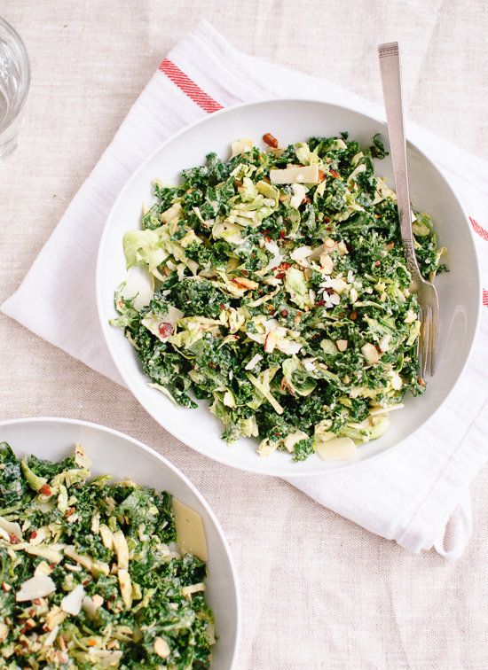 "<strong>Get the <a href=""http://cookieandkate.com/2013/raw-kale-and-brussels-sprouts-salad-with-tahini-maple-dressing/"" targe"