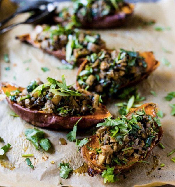 "<strong>Get the <a href=""http://www.feastingathome.com/healthy-moroccan-stuffed-sweet-potatoes/"">Moroccan Stuffed Sweet Potat"