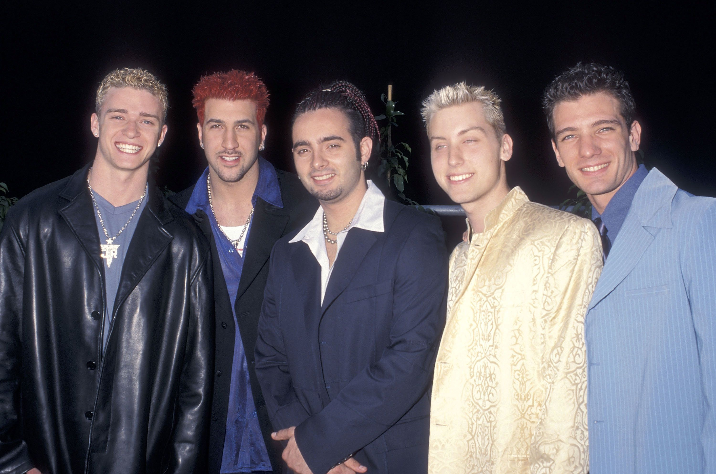 LOS ANGELES - MAY 25:   Pop group NSYNC: Justin Timberlake, Joey Fatone, Chris Kirkpatrick, Lance Bass and JC Chasez attend the Fifth Annual Blockbuster Entertainement Awards on May 25, 1999 at the Shrine Auditorium in Los Angeles, California. (Photo by Ron Galella, Ltd./WireImage)
