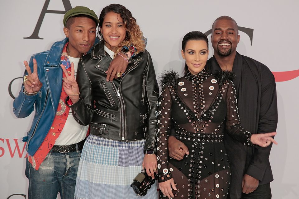 Pharrell Williams, Helen Lasichanh, Kim Kardashian West and Kanye West  attend the 2015 CFDA Fashion Awards