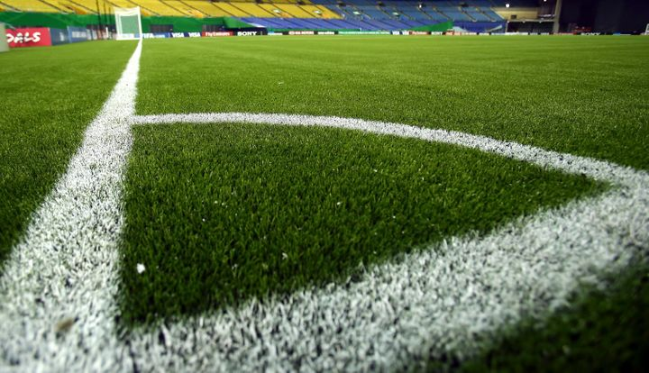 Close-up of turf in Montreal's Olympic Stadium.