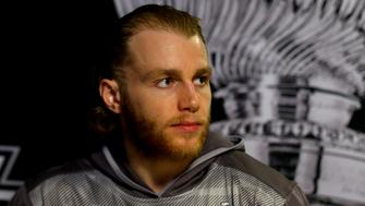TAMPA, FL - JUNE 02:  Patrick Kane #88 of the Chicago Blackhawks speaks during Media Day for the 2015 NHL Stanley Cup Final at Amalie Arena on June 2, 2015 in Tampa, Florida.  (Photo by Bruce Bennett/Getty Images)