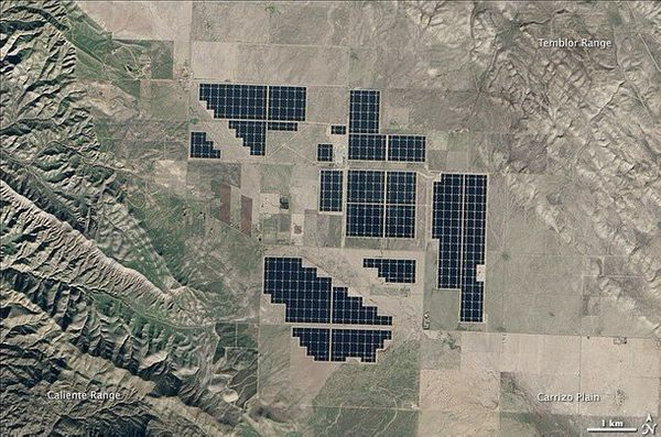 The 550-megawatt facility, as pictured from space, produces enough electricity to power about 180,000 homes.