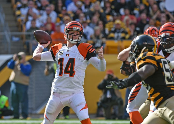 Cincinnati Bengals quarterback Andy Dalton throws a pass during a 16-10 win over the Pittsburgh Steelers on Nov. 1, 2015.