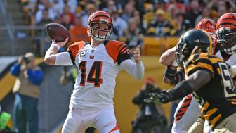 PITTSBURGH, PA - NOVEMBER 1:  Quarterback Andy Dalton #14 of the Cincinnati Bengals passes during a game against the Pittsburgh Steelers at Heinz Field on November 1, 2015 in Pittsburgh, Pennsylvania.  The Bengals defeated the Steelers 16-10. (Photo by George Gojkovich/Getty Images)