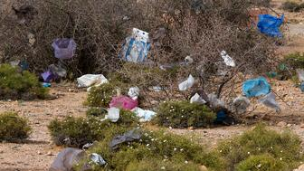 (GERMANY OUT) environmental pollution: landscape with plastic bags near Tafraoute Morocco   (Photo by Braunger/ullstein bild via Getty Images)