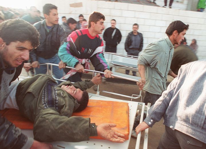The Hebron mosque massacre killed 29 Palestinians.
