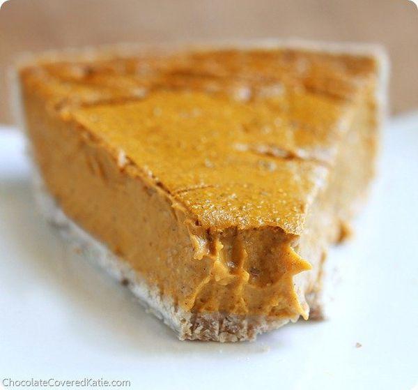 "<strong>Get the <a href=""http://chocolatecoveredkatie.com/2013/11/04/healthy-pumpkin-pie-recipe/"">Pumpkin Pie</a>recipe"