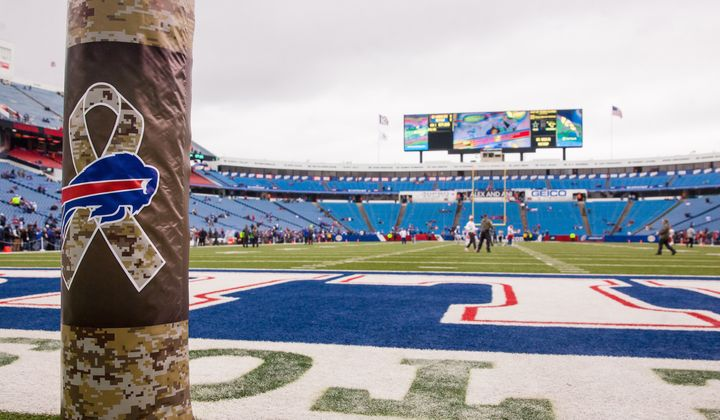 "The NFL recognizes Veterans Day and honors the military with its ""Salute to Service"" campaign as seen here before the ga"