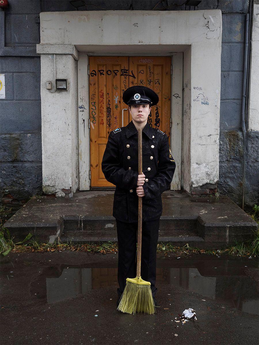 Portrait of a boy outside a military school. Murmansk, Russia.October 2015.