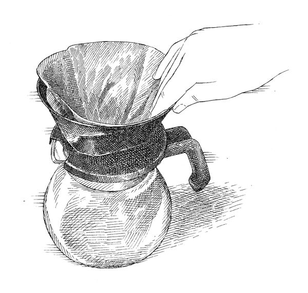 """""""When using a manual drip coffee maker, the grounds can spill down into the pot because the paper filter folds over on itself"""