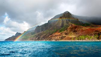 Rainbow over Napali coast, Kauai, Hawii