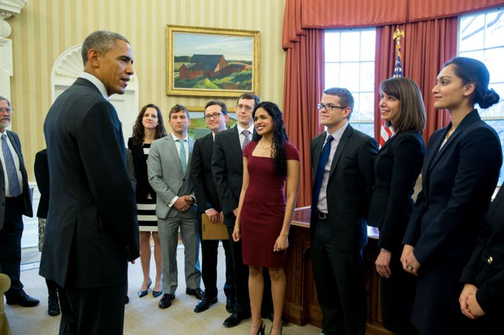 President Obama speaks with Maya Shankar and other members of the Social and Behavioral Sciences Team in January 2015.