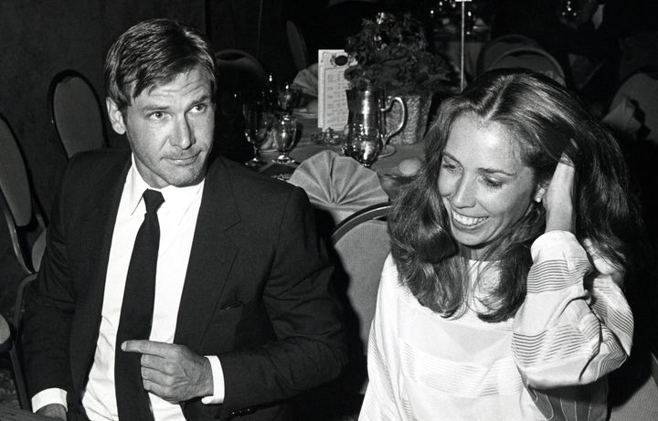 Harrison Ford and Melissa Mathison during the Writers Guild Awards in 1983.  Mathison, who