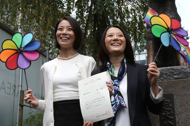 On Thursday, Koyuki Higashi (left) and Hiroku Masuhara (right) reportedly becamethe first same-sex...