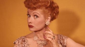 circa 1955:  American actress and producer Lucille Ball (1911 - 1989), best known for her starring role in the hit 50s sitcom 'I Love Lucy'.  (Photo by Weegee(Arthur Fellig)/International Center of Photography/Getty Images)