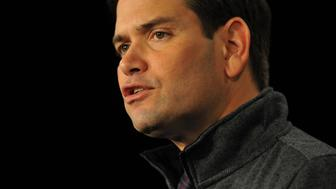 DES MOINES, IA - OCTOBER 31: Republican presidential candidate, Sen. Marco Rubio (R-FL)  speaks at the Growth and Opportunity Party, at the Iowa State Fair in Des Moines, Iowa, Saturday October 31, 2015. With just 93 days before the Iowa caucuses Republican hopefuls are trying to shore up support amongst the party. (Photo by Steve Pope/Getty Images)