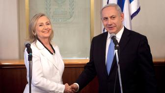 JERUSALEM, ISRAEL - JULY 16:  Israeli Prime Minister Benjamin Netanyahu meets with U.S. Secretary of State Hillary Clinton on July 16, 2012 in Jerusalem, Israel. Clinton is in Israel to discuss diplomacy with Iran, Syria and Egypt in addition to peace talks regarding the Middle East.  (Photo by ABIR SULTAN-Pool/Getty Images)