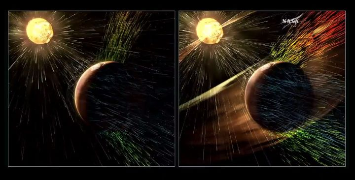 On the right, Mars being hit by solar winds. On the left, Mars during a solar storm.