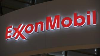 A picture shows the logo of US oil and gas giant ExxonMobil during the World Gas Conference exhibition in Paris on June 2, 2015. AFP PHOTO / ERIC PIERMONT        (Photo credit should read ERIC PIERMONT/AFP/Getty Images)