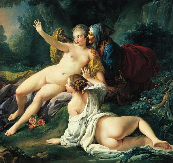 Jupiter and Semele, about 1760, Jean-Baptiste Deshays de Colleville. Oil on canvas, 62 3/4 x 66 3/8 in. The Norton Simon Foun