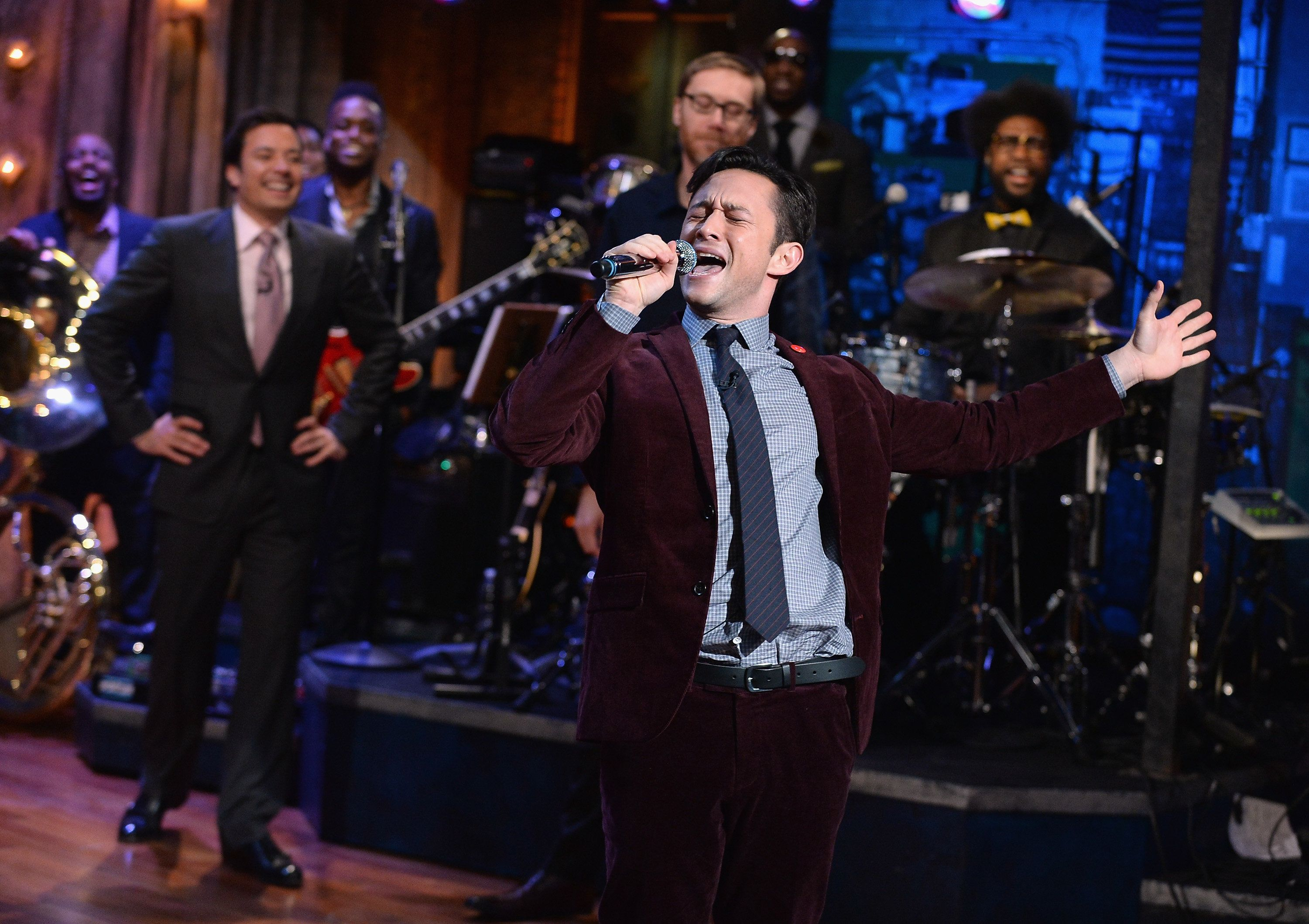 NEW YORK, NY - SEPTEMBER 24:  Joseph Gordon-Levitt, Stephen Merchant and Jimmy Fallon have a Lip-synching contest during a taping of 'Late Night With Jimmy Fallon' at Rockefeller Center on September 24, 2013 in New York City.  (Photo by Theo Wargo/Getty Images)