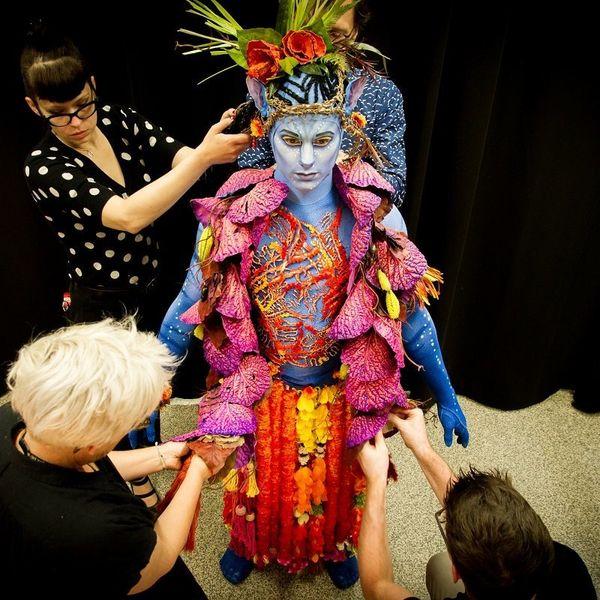 Veteran Hollywood costume designer Kym Barrett made the elaborate costumes.