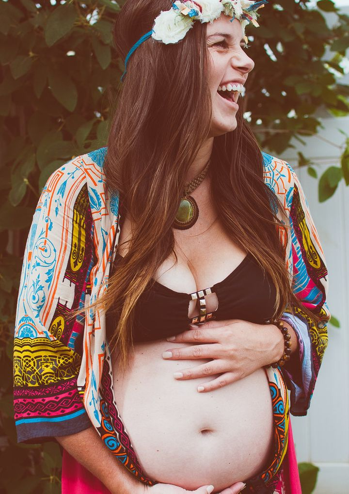 """A shot from one of Anni Daulter's """"sacred pregnancy"""" retreats."""