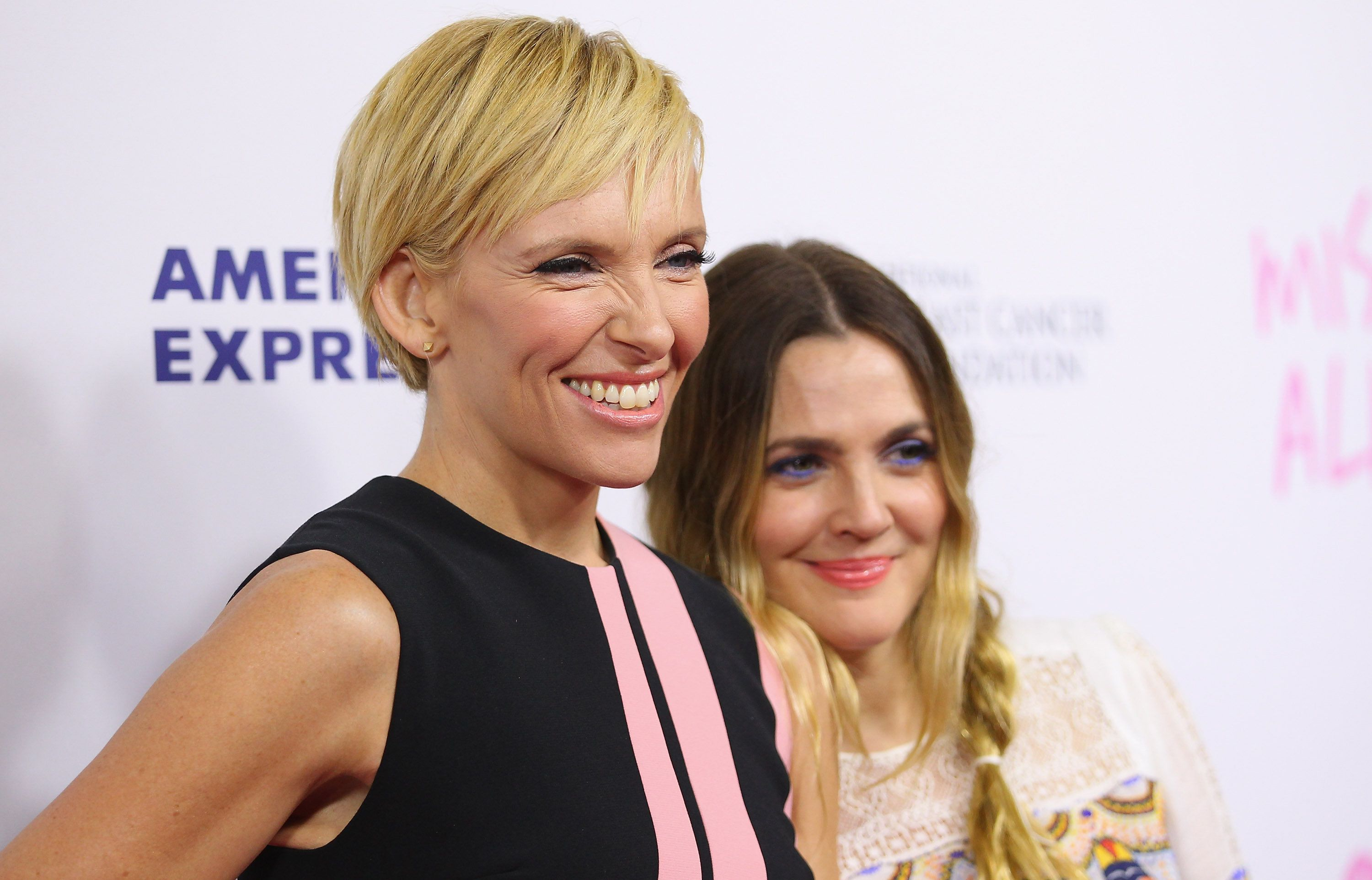 SYDNEY, AUSTRALIA - SEPTEMBER 30:  Toni Collette and Drew Barrymore arrive ahead of the 'Miss You Already' gala premiere at the State Theatre on September 30, 2015 in Sydney, Australia.  (Photo by Don Arnold/WireImage)