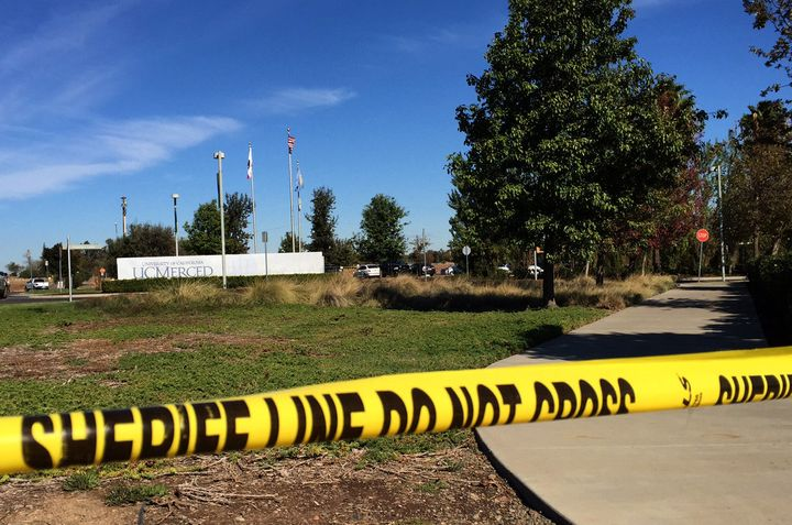 The scene outside UC Merced, where five students were injured and their alleged assailant shot and killed by law enforcement
