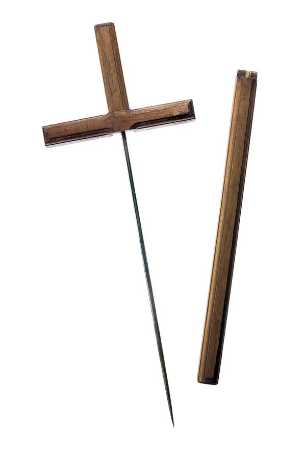 Shiv, disguised as a wooden crucifix; found in an inmate's cell in Wolfenbüttel prison, Germany, sometime around 1