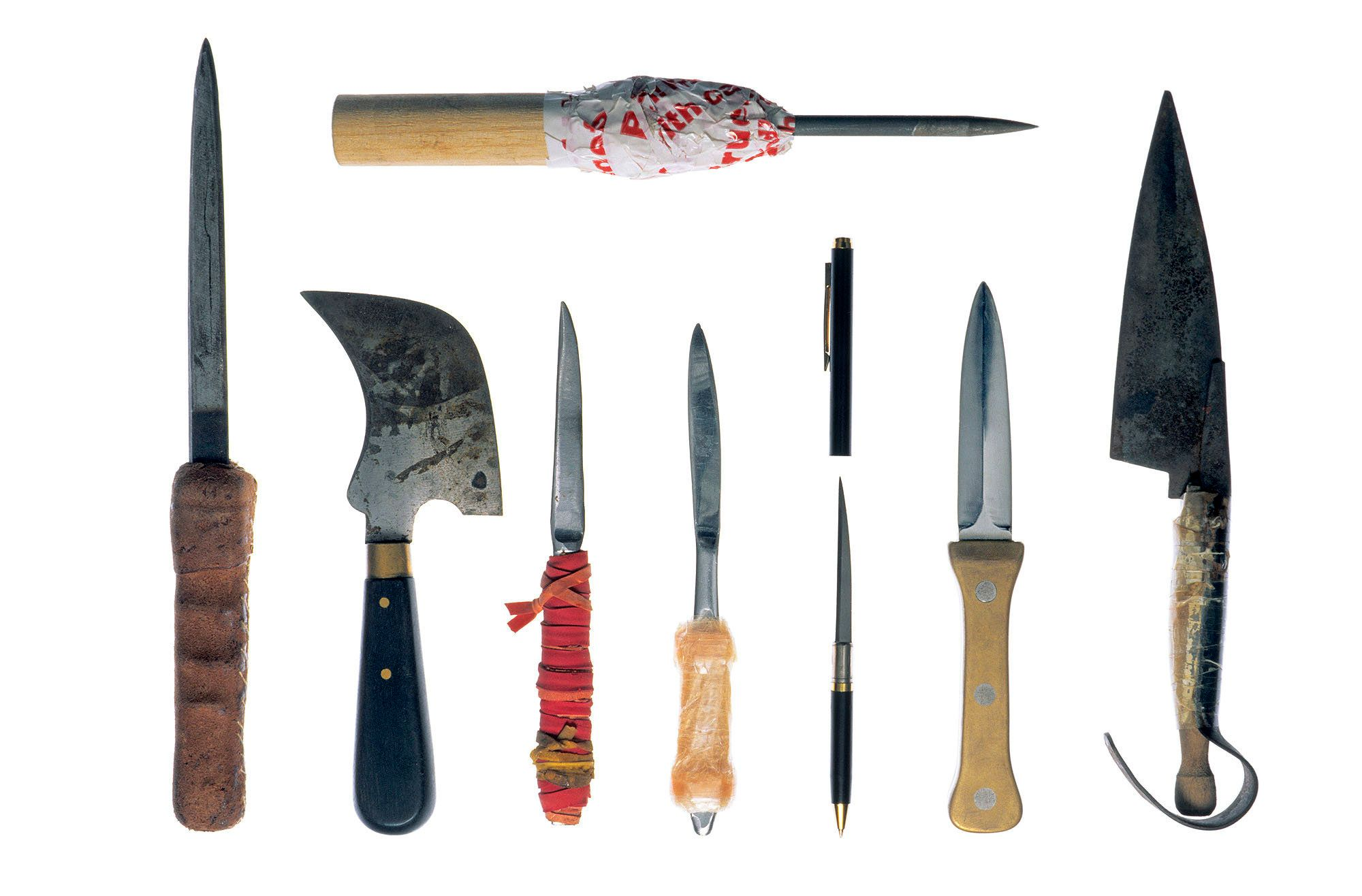 Collection of knives and shivs secured at 'Santa Fu', the prison of Hamburg Fuhlsbüttel, Germany. Inmates of