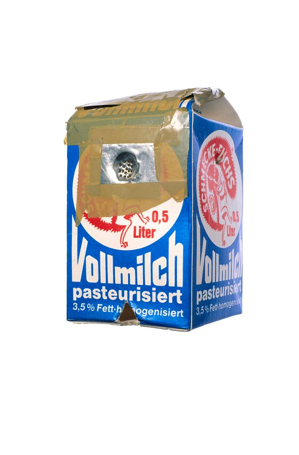 Hash pipe fashioned from a milk carton and a piece of tin; confiscated in 'Santa Fu' prison in Hamburg, Germany.