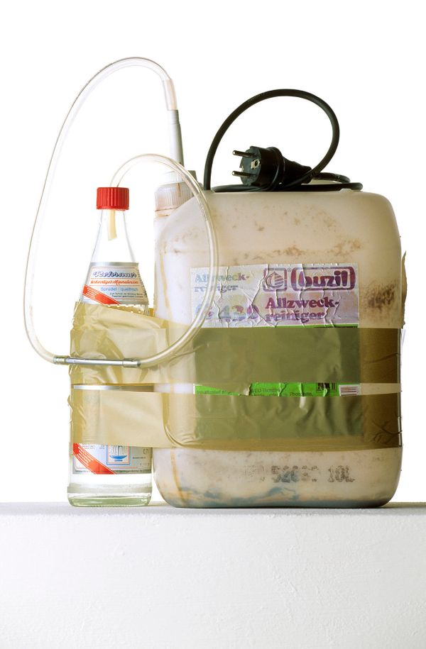 Moonshine still, confiscated on April 23, 1996, in an inmate's cell at Heimsheim prison, Germany. The plastic canister