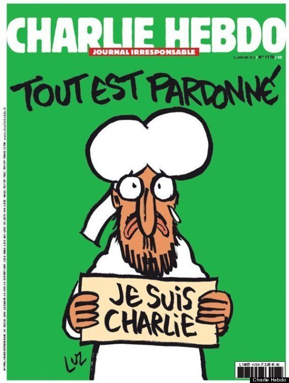 "Charlie Hebdo's cover following the attack on their offices in January 2015. The captions reads: ""All is forgiven."""