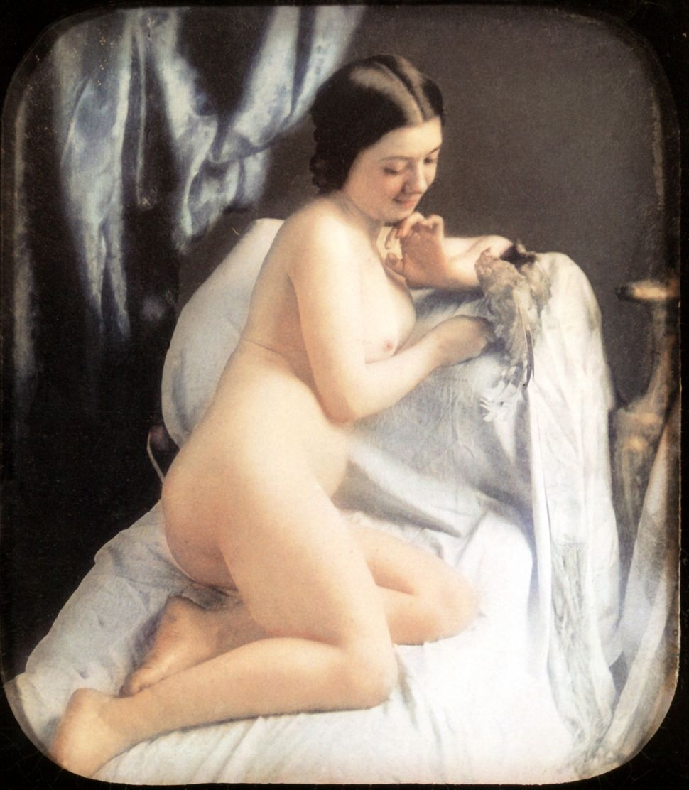 A nude woman is sitting on her bed playing with a bird. Hand-colored stereoscopic daguerreotype. 1850.
