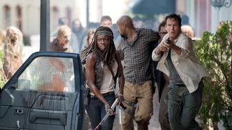 Danai Gurira as Michonne, Kenric Green as Scott and Jay Huguley as David - The Walking Dead _ Season 6, Episode 3 - Photo Credit: Gene Page/AMC