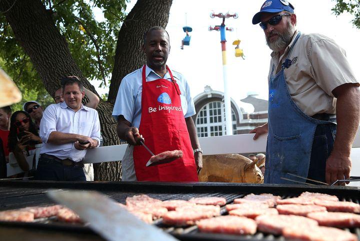 Ben Carson flipped pork burgers at the Iowa State Fair in August.