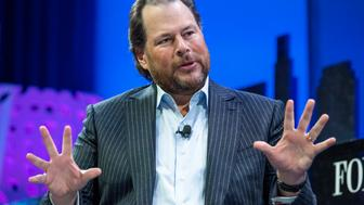 Marc Benioff, chairman and chief executive officer of Salesforce.com Inc., speaks during the 2015 Fortune Global Forum in San Francisco, California, U.S., on Tuesday, Nov. 3, 2015. The forum gathers Global 500 CEO's and innovators, builders, and technologists from some of the most dynamic, emerging companies all over the world to facilitate relationship building at the highest levels. Photographer: David Paul Morris/Bloomberg via Getty Images