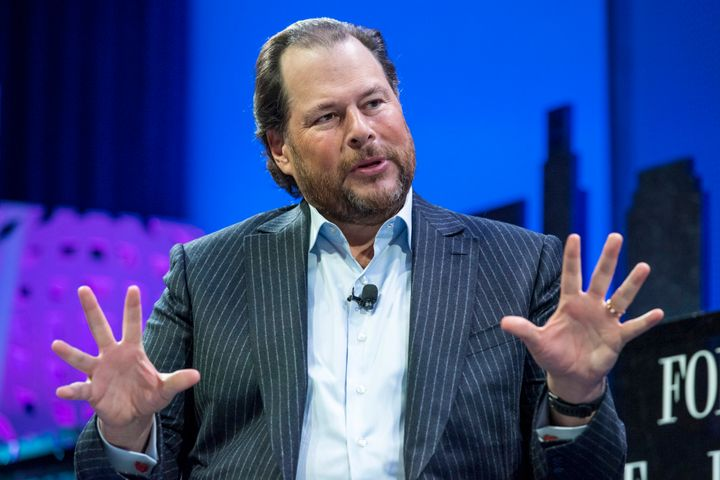 Benioff speaking at the Fortune Global Forum on Tuesday.