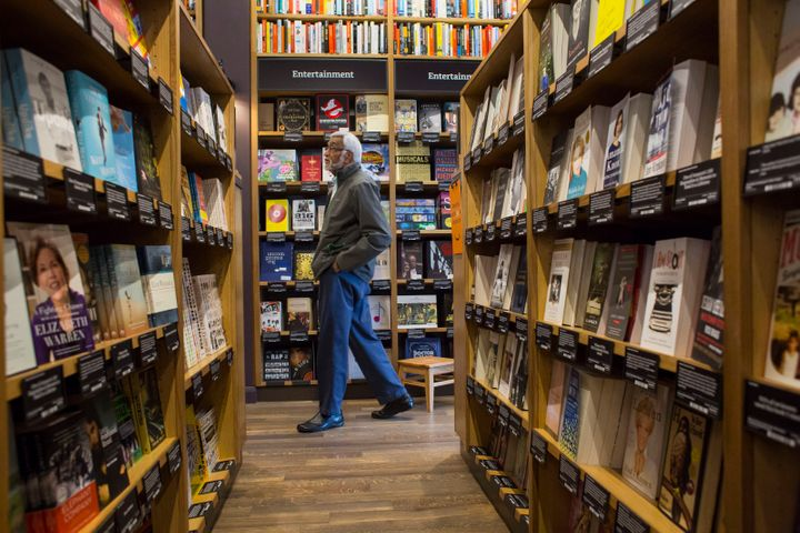 Inside the narrow aisles of Amazon Books.