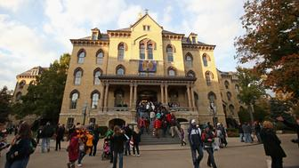 SOUTH BEND, IN - OCTOBER 19:  A general view of a building on the campus of Notre Dame University before the Notre Dame Fighting Irish take on the University of Southern California Trojans at Notre Dame Stadium on October 19, 2013 in South Bend, Indiana.  (Photo by Jonathan Daniel/Getty Images)